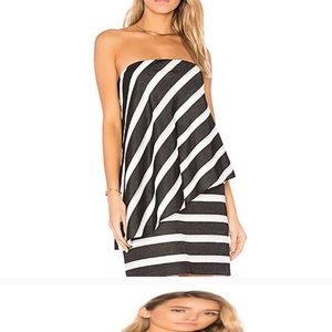 Halston Heritage Strapless tiered stripe dress